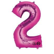 Anagram Folienballon Zahl  86 cm  pink - Auswahl 2