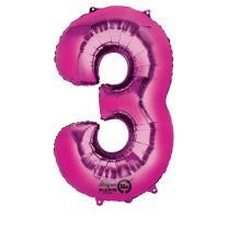 Anagram Folienballon Zahl  86 cm  pink - Auswahl 3