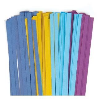 Quilling Papierstreifen 5 mm avocado / violet / azur / luxus blau (580)