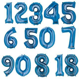 Anagram Folienballon Zahl  86 cm  blau - Auswahl