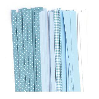 Quilling Papierstreifen 5 mm türkis mix /kariert / gepunktet (350)