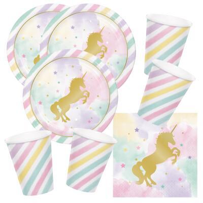 48-teiliges Party-Set goldenes Einhorn - Unicorn sparkle - Teller Becher Servietten für 16  Kinder