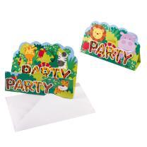 Einladungen mit Umschlag, 8 Stück  - Tiere -...