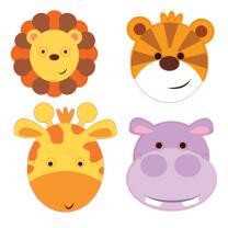 Masken, 8 Stück aus Pappe  - Tiere - Dschungeltiere...