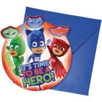 PJ Mask Pyjamahelden Einladungen mit Umschlag, 6 Stück