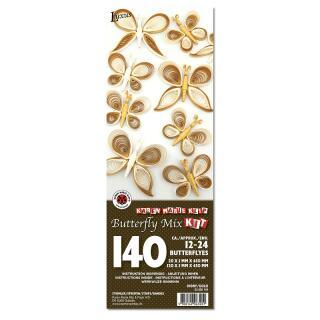 Quilling Schmetterlinge - gold / elfenbein (606)