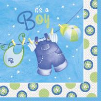 Baby Party -  Babystrampler Junge  -  Servietten, 33 x 33...