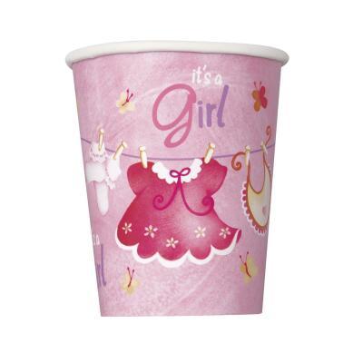 Baby Party -  Babykleidchen Mädchen Its a girl  -  Becher, Pappbecher, 0,25 l, 8 Stück