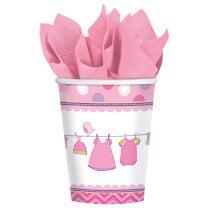 32-teiliges Party Set Baby Shower With Love - Girl - Teller, Becher, Servietten für 8 Personen