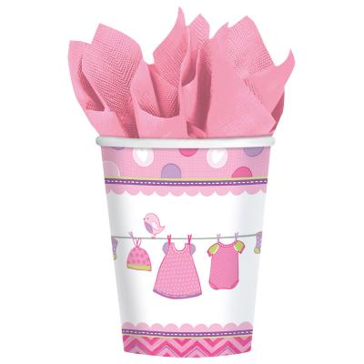 48-teiliges Party Set Baby Shower With Love - Girl - Teller, Becher, Servietten  für 16 Personen