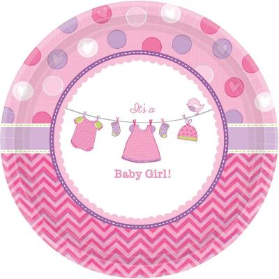 Baby Party  -  Shower With Love - Girl -  Teller, Pappteller,  26,6 cm, 8 Stück