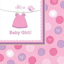 Baby Party  -  Shower With Love - Girl -  Servietten, 33...
