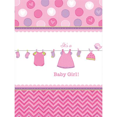 Baby Party  -  Shower With Love - Girl - Tischdecke, 138 x 259 cm, Kunststoff
