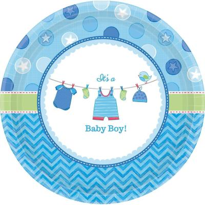 Baby Party  -  Shower With Love - Boy -  Pappteller,  26,6 cm, 8 Stück