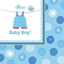 Baby Party  -  Shower With Love - Boy -  Servietten, 33 x...