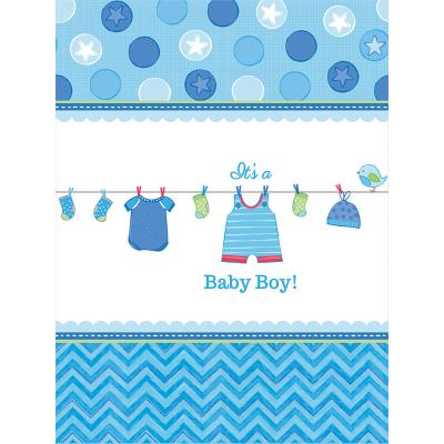 Baby Party  -  Shower With Love - Boy - Tischdecke, 138 x 259 cm, Kunststoff