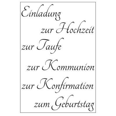 Efco 021 Clear Stamps Stempel Set Einladung Zur Hochzeit Taufe Kommunion Geburtstag