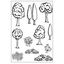Efco (036) clear stamps Stempel Set - Dorf - Wald - Baum