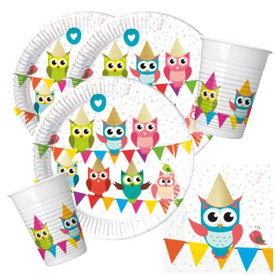 36-teiliges Party-Set Eule My best friend Owl Teller Becher Servietten für 8 Kinder