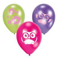 Eule   -  Luftballons, 6 Stück