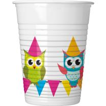 Eule My best friend Owl  - Becher Plastik,  8 Stück, 23 cm