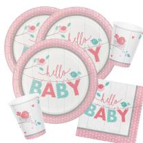 32-teiliges Party-Set Baby shower - Hello Baby Girl...