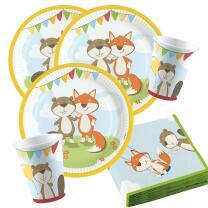 36-teiliges Party-Set Tiere - Fuchs und Biber - Teller...