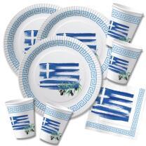 60-teiliges Party-Set Griechenland - Teller Becher...