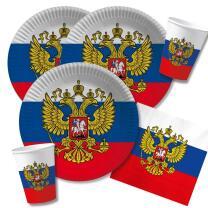 40-teiliges Party-Set Russland - Teller Becher Servietten...